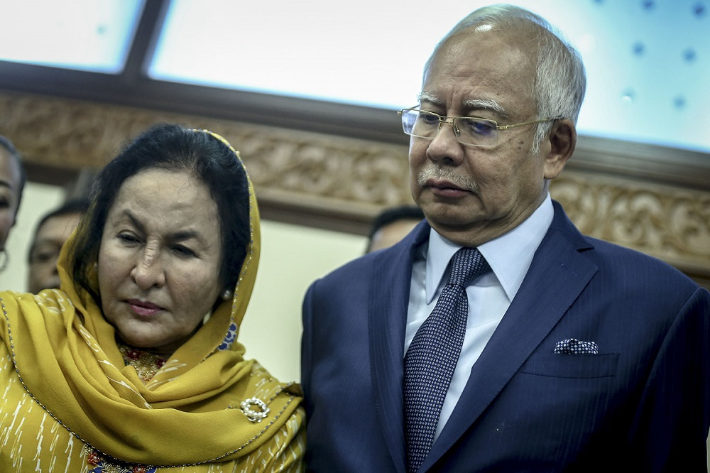 Najib, Rosmah (left) and Global Royalty are the third parties who are staking claim to the jewellery in the forfeiture application against Obyu Holdings, which is owned by Tan Sri Bustari Yusof. — Picture by Hari Anggara