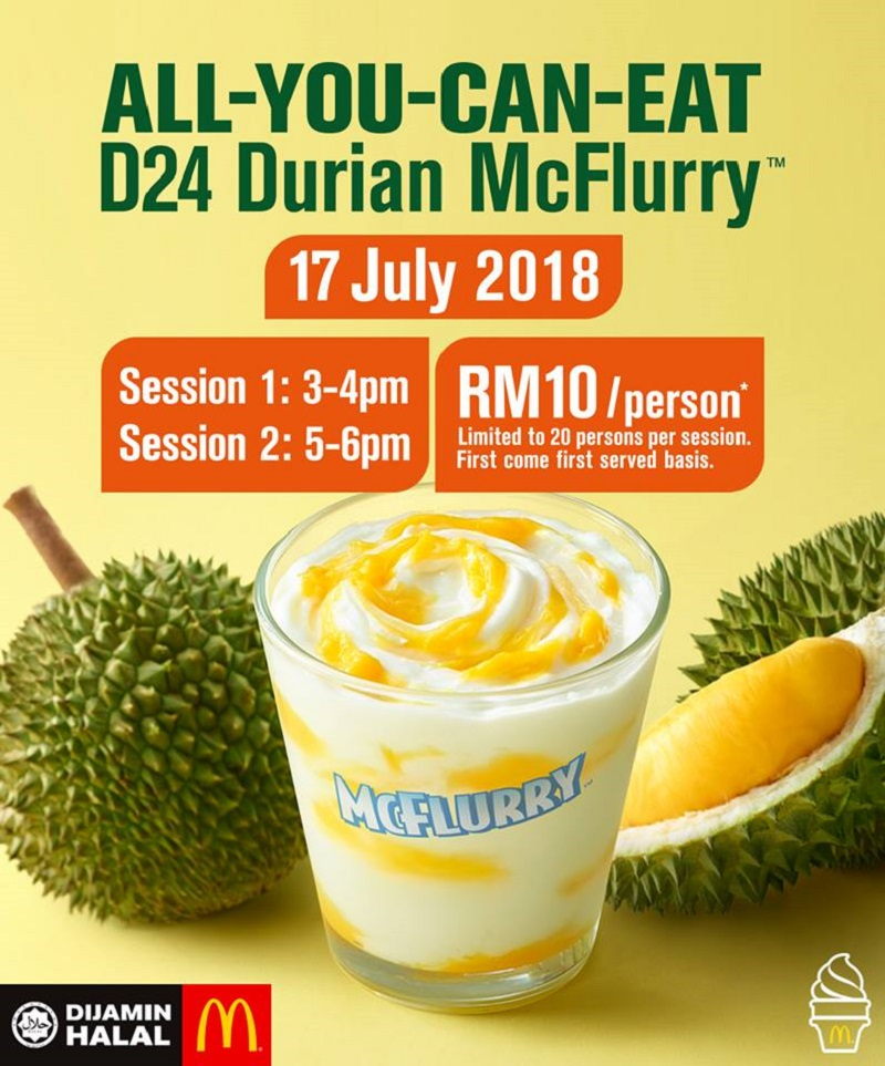 McDonald's hosts All-You-Can-Eat D24 Durian McFlurry event is sure to attract durian lovers from all over the country. — Picture courtesy of McDonald's Malaysia