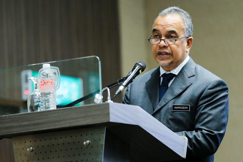 Deputy Finance Minister Datuk Ir Amiruddin Hamzah delivers a speech July 26, 2018. — Picture by Ahmad Zamzahuri