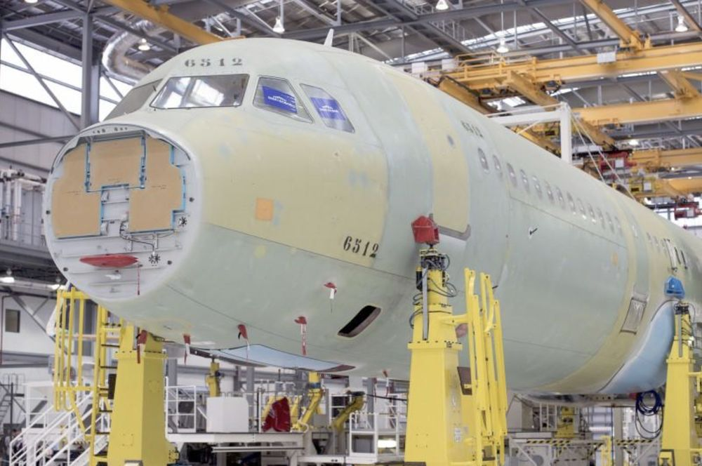 An Airbus A321 is being assembled in the final assembly line hangar at the Airbus US Manufacturing Facility in Mobile, Alabama, September 13, 2015. — Reuters pic