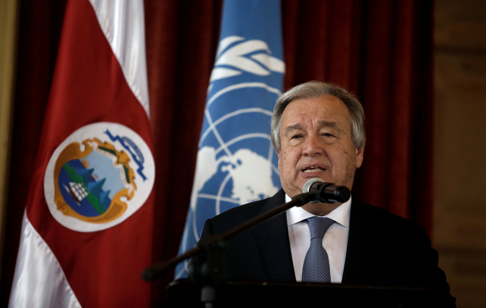 UN Secretary General Antonio Guterres speaks during his visit to the United Nations School in San Jose, Costa Rica July 16, 2018. — Reuters pic