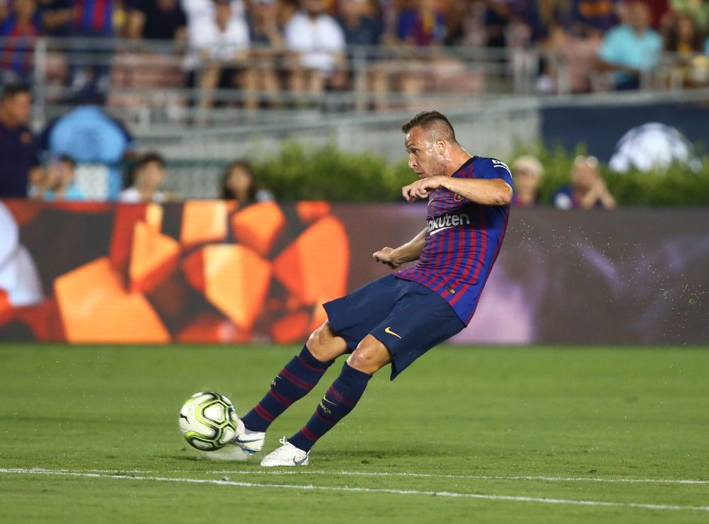 Barcelona midfielder Arthur kicks a goal in the first half against Tottenham Hotspur during an International Champions Cup football match at Rose Bowl, July 28, 2018. ― Reuters pic