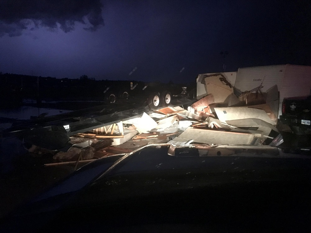 Tornado damage is seen in a trailer park in Watford City, North Dakota, US, is seen in this July 10, 2018 image obtained July 11, 2018 from social media. — Reuters pic
