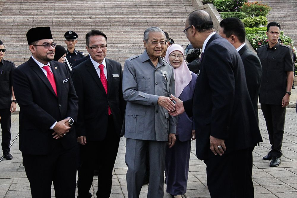 Prime Minister Tun Dr Mahathir Mohamad arrives at the Prime Minister's Department Monthly Assembly in Putrajaya July 9, 2018. ― Picture by Miera Zulyana