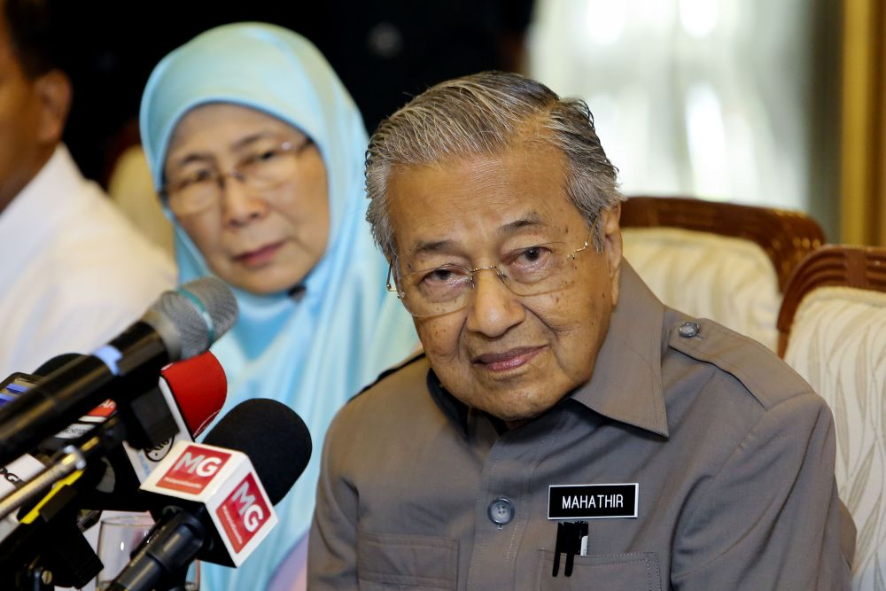 Earlier today, Prime Minister Tun Dr Mahathir Mohamad said Khazanah should go back to one of its core purpose of helping the Bumiputera. — Picture by Yusof Mat Isa