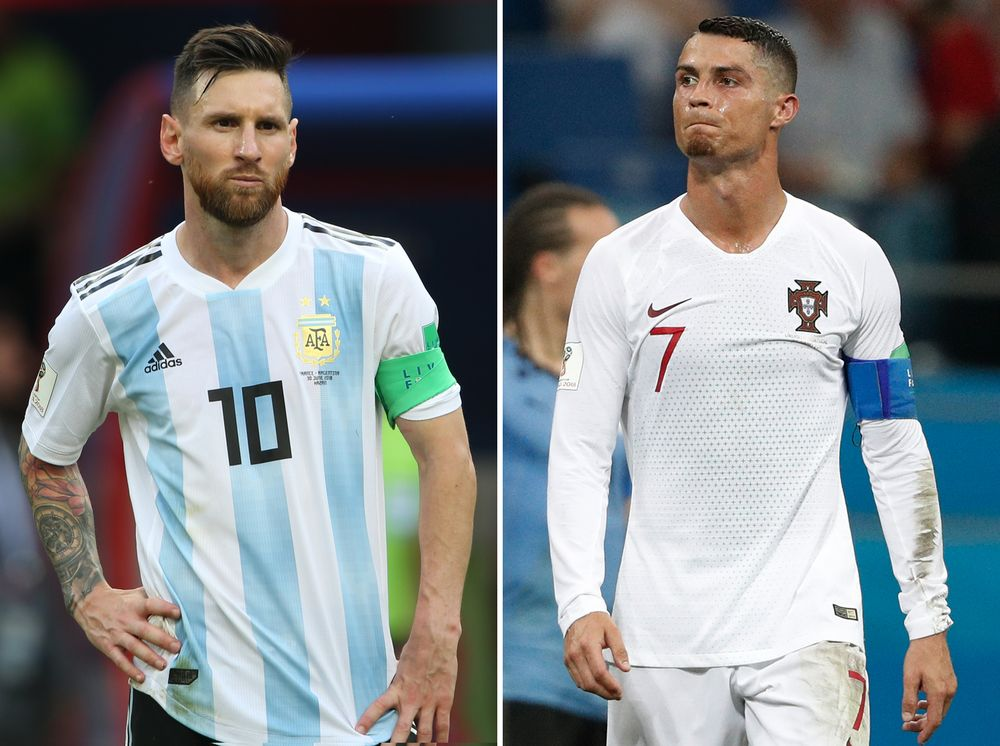 This combination of two files pictures created on June 30, 2018 shows Argentina's forward Lionel Messi (left) in Kazan on June 30, 2018 and Portugal's forward Cristiano Ronaldo in Sochi on June 30, 2018. — AFP pic