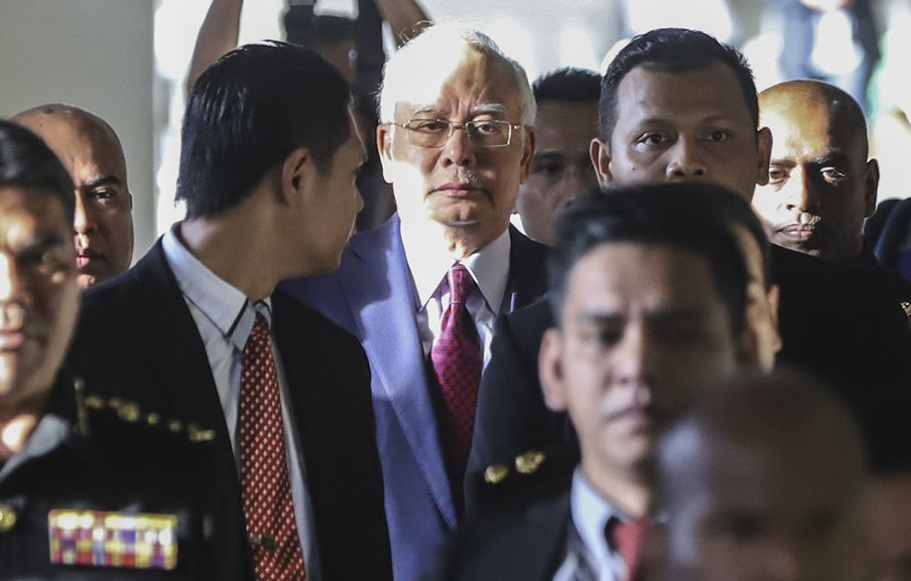 Najib was charged yesterday with three counts of criminal breach of trust and one count of abusing his position for personal gain.  ― Picture by Azneal Ishak