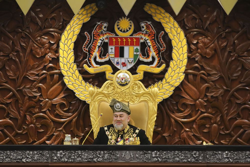 Yang di-Pertuan Agong Sultan Muhammad V delivers his royal address during the opening of the 14th Parliament today in Kuala Lumpur July 17, 2018. ― Picture by Yusof Mat Isa