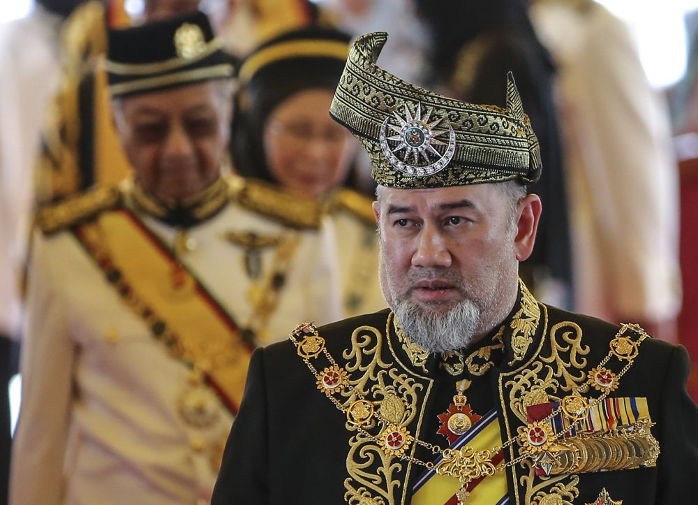 Yang di-Pertuan Agong Sultan Muhammad V arrives at the opening of the first session of the 14th Parliament in Kuala Lumpur July 17, 2018. ― Picture by Azneal Ishak