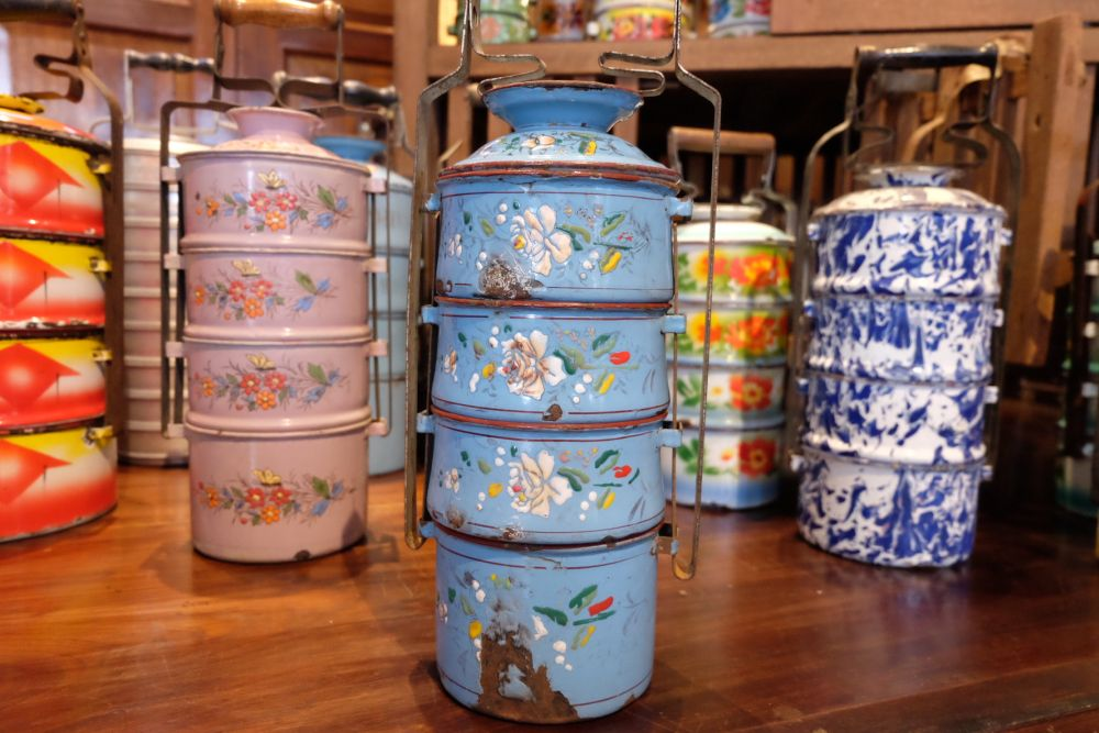 Chris Ong's tiffin carriers collection on display at Seven Terraces.
