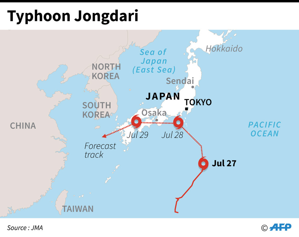 Map of Japan showing the forecast track of Typhoon Jongdari. — AFP graphic