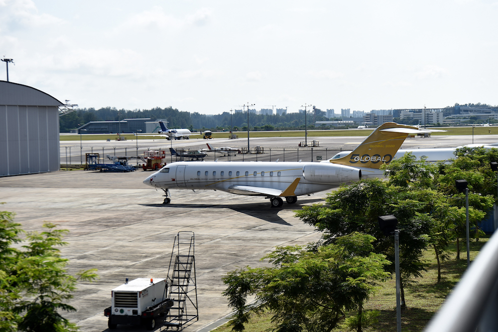 File picture of a plane on the tarmac of the Seletar airport in Singapore February 6, 2017. Singapore said any changes to the management of southern Johor airspace will affect many stakeholders. — AFP pic