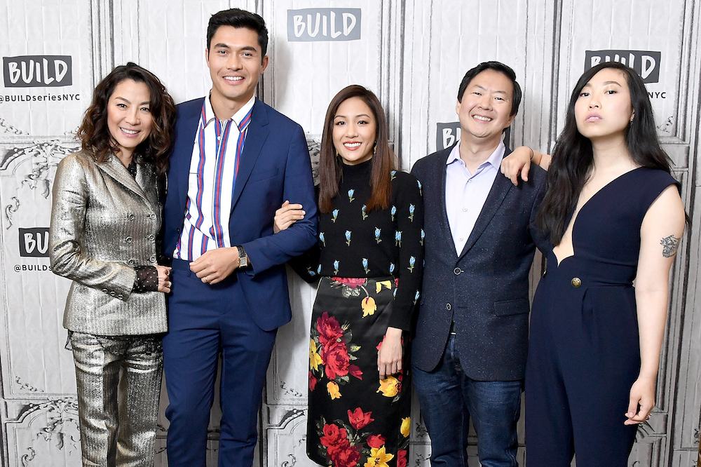 Michelle Yeoh, Henry Golding, Constance Wu, Ken Jeong and Nora Lum, aka Awkwafina, visit Build to discuss the movie 'Crazy Rich Asians' in New York August 14, 2018. — AFP pic