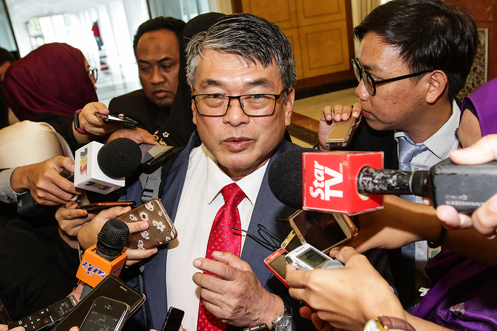 Selayang MP William Leong Jee Keen speaks to reporters at the Parliament lobby in Kuala Lumpur August 6, 2018. — Picture by Miera Zulyana