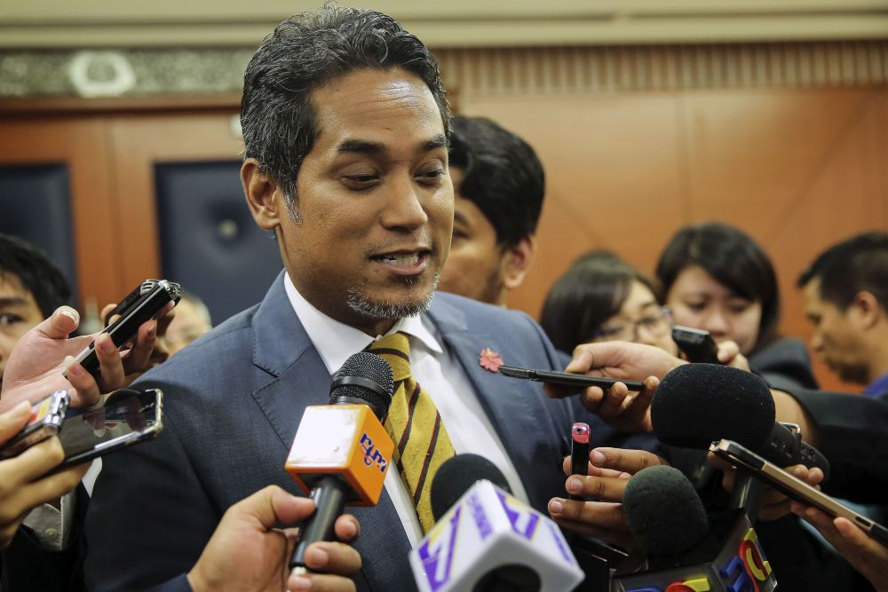 Khairy Jamaluddin speaks to reporters at Parliament in Kuala Lumpur August 2, 2018.— Picture by Yusof Mat Isa