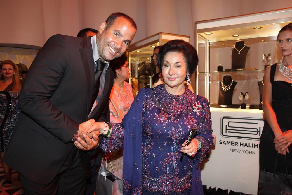 International diamond jeweller Samer Halimeh together with former prime minister Datuk Seri Najib Razak's wife Datin Seri Rosmah Mansor in an undated photograph. — Pictures courtesy of Samer Halimeh New York