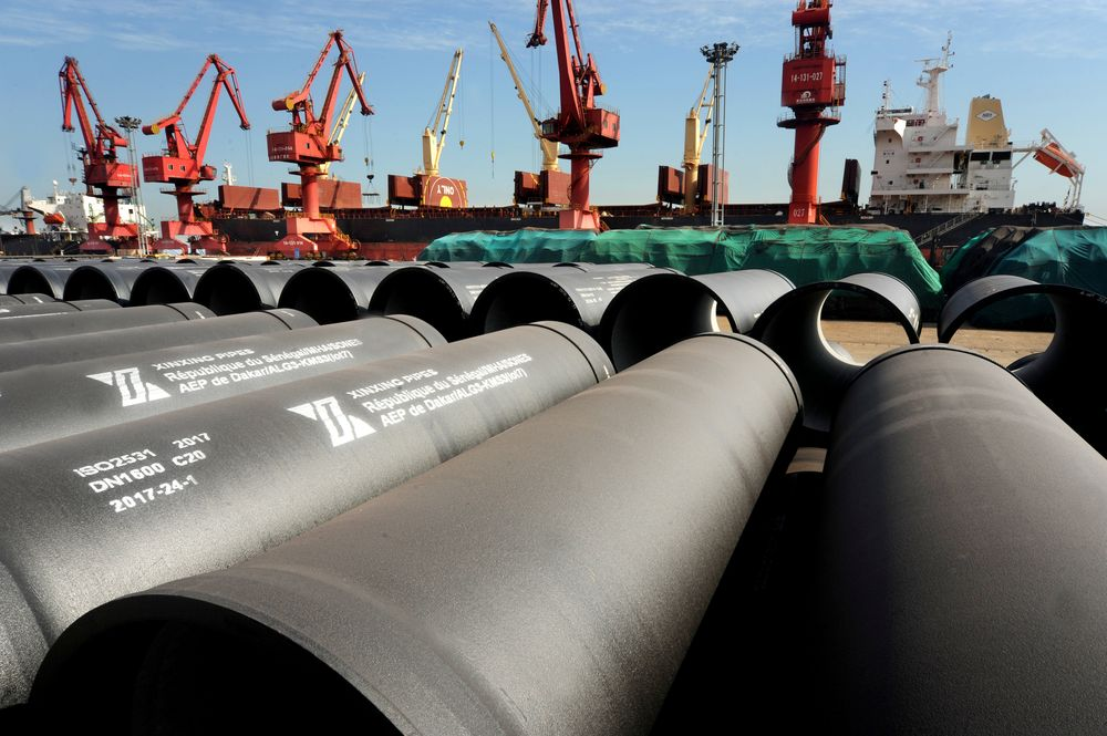 Steel pipes to be exported are seen at a port in Lianyungang May 31, 2018. — Picture by China Daily via Reuters
