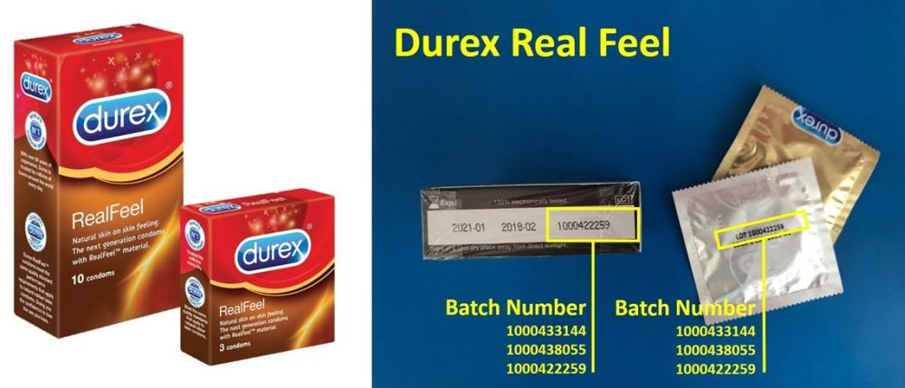 The non-latex Durex Real Feel condoms being recalled are from the following batch numbers: 1000433144, 1000438055, and 1000422259. ― Picture courtesy of Durex Malaysia