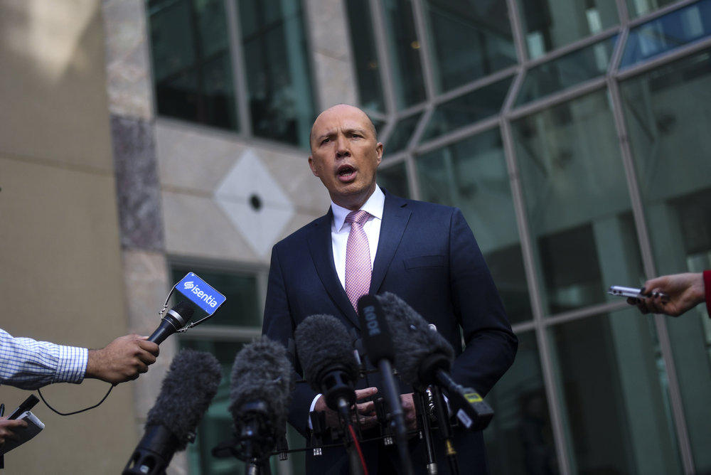 Peter Dutton, the minister for home affairs, said Australia would not be silent despite the importance of their trading relationship. — Reuters pic