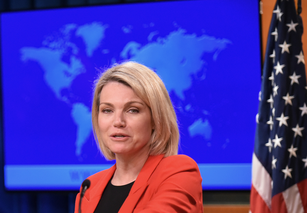 US State Department spokesperson Heather Nauert speaks during the release of the international religious freedom report at the State Department in Washington May 29, 2018. — AFP pic