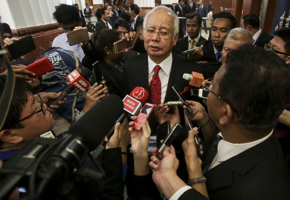 Datuk Seri Najib Razak speaks to reporters at the Parliament in Kuala Lumpur August 7, 2018. ― Picture by Hari Anggara