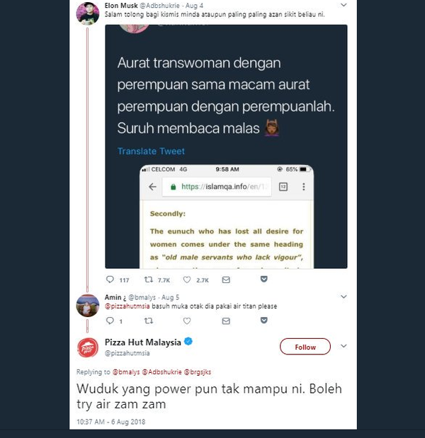 Pizza Hut Malaysia was criticised after their account tweeted a reply to a thread putting down another user who had espoused views on transgender women and the Islamic concept of aurat.