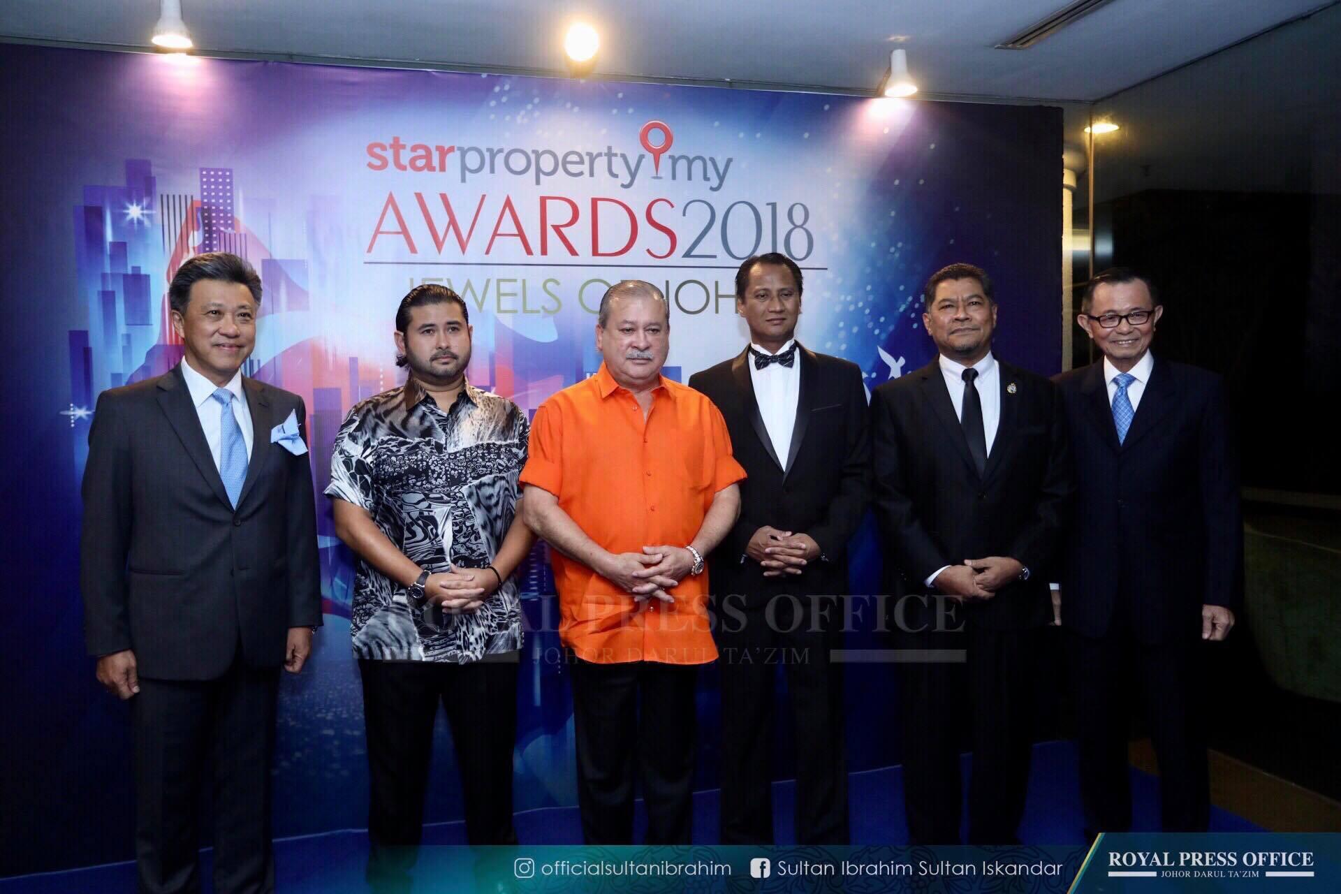 Johor ruler Sultan Ibrahim Sultan Iskandar (third left) and Tunku Mahkota Johor, Tunku Ismail Sultan Ibrahim (second left) at the 'StarProperty.my Awards 2018: Jewels of Johor'— Pictures via Facebook/Johor Royal Press Office