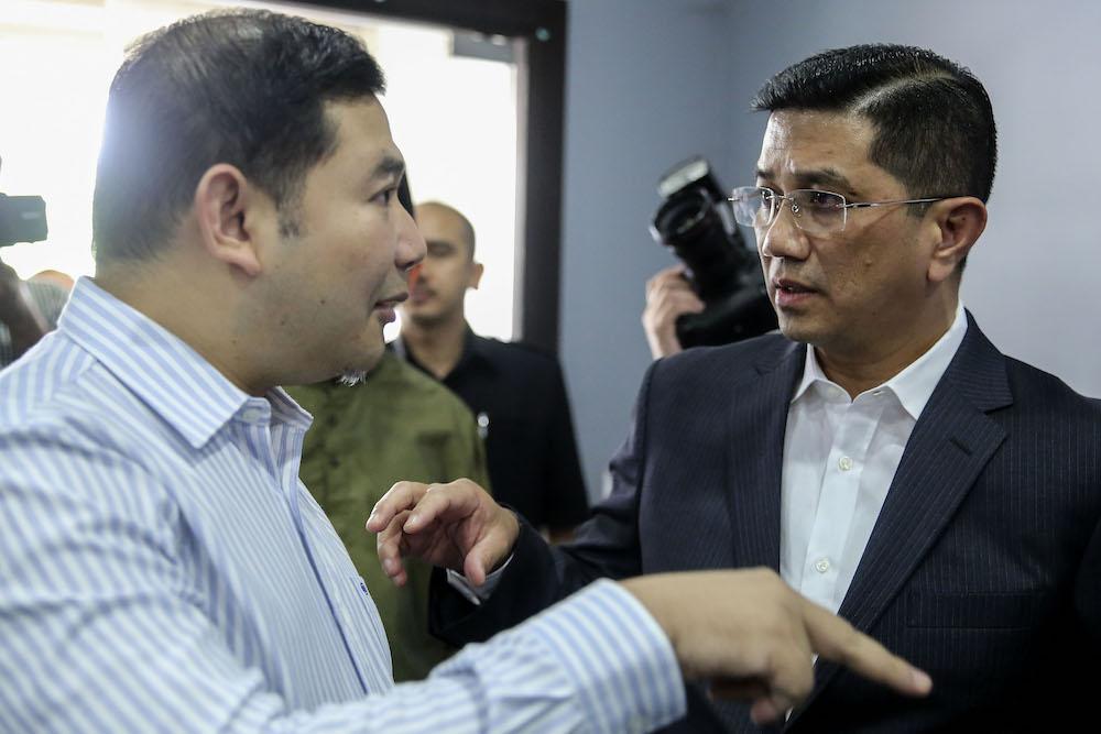 Datuk Seri Azmin Ali (right) and Rafizi Ramli at PKR headquarters in Petaling Jaya September 21, 2018. — Picture by Yusof Mat Isa