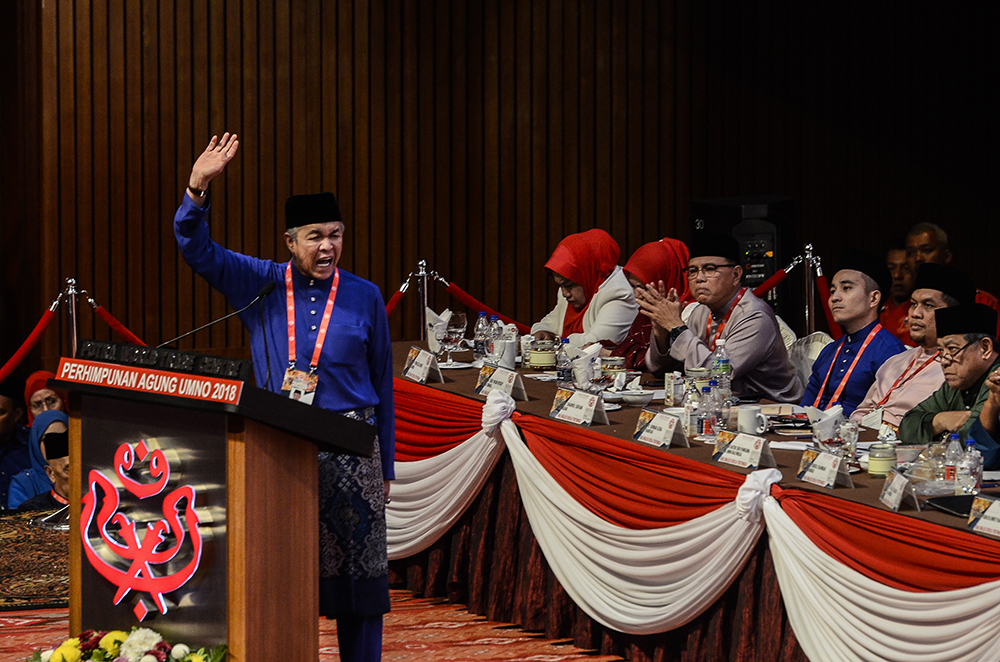 Umno president Datuk Seri Ahmad Zahid Hamidi delivers his speech during the party's annual general assembly at PWTC in Kuala Lumpur September 30, 2018. — Picture by Miera Zulyana