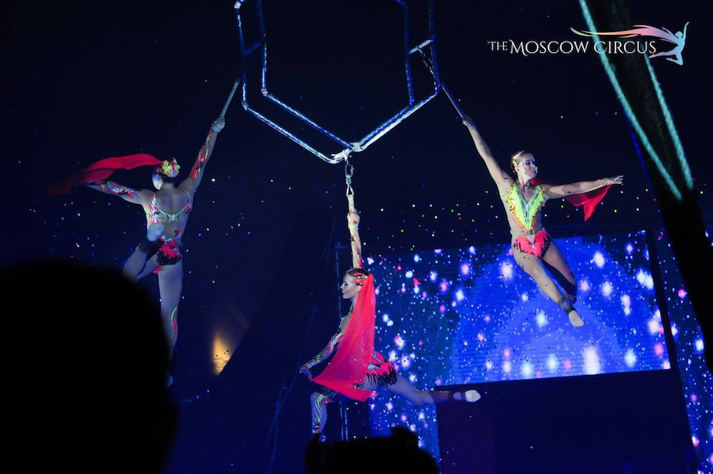 Daring ladies on the high hexagon act. — Pictures courtesy of Moscow Circus