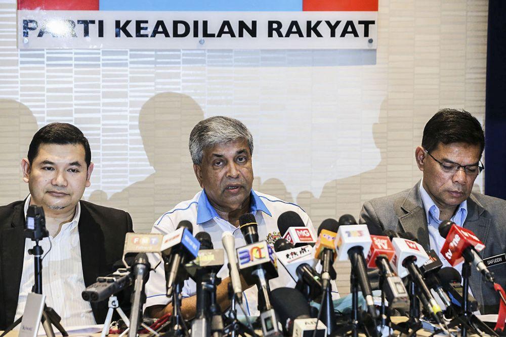 Datuk Danyal Balagopal Abdullah (centre) speaks during a press conference at PKR's headquarters in Petaling Jaya September 12, 2018. — Picture by Hari Anggara