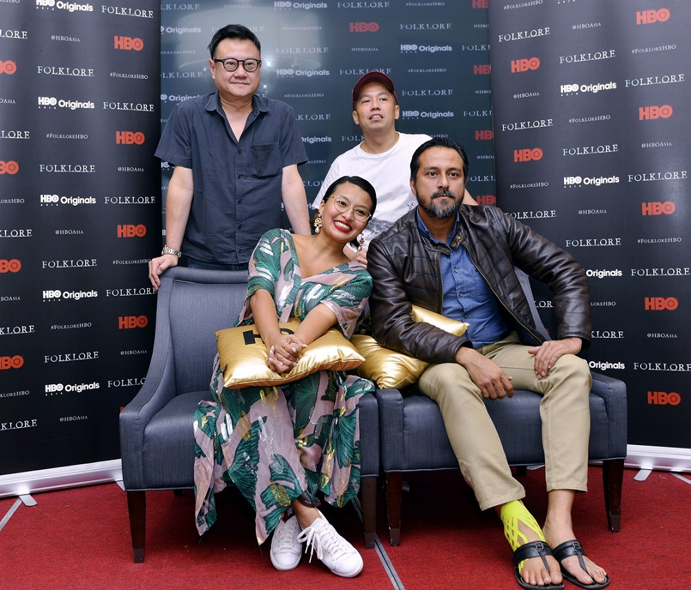 (Clockwise, top left) Eric Khoo, Ho Yuhang, Bront Palarae and Nabila Huda at the sneak preview of 'Folklore'. ― Picture by Ham Abu Bakar