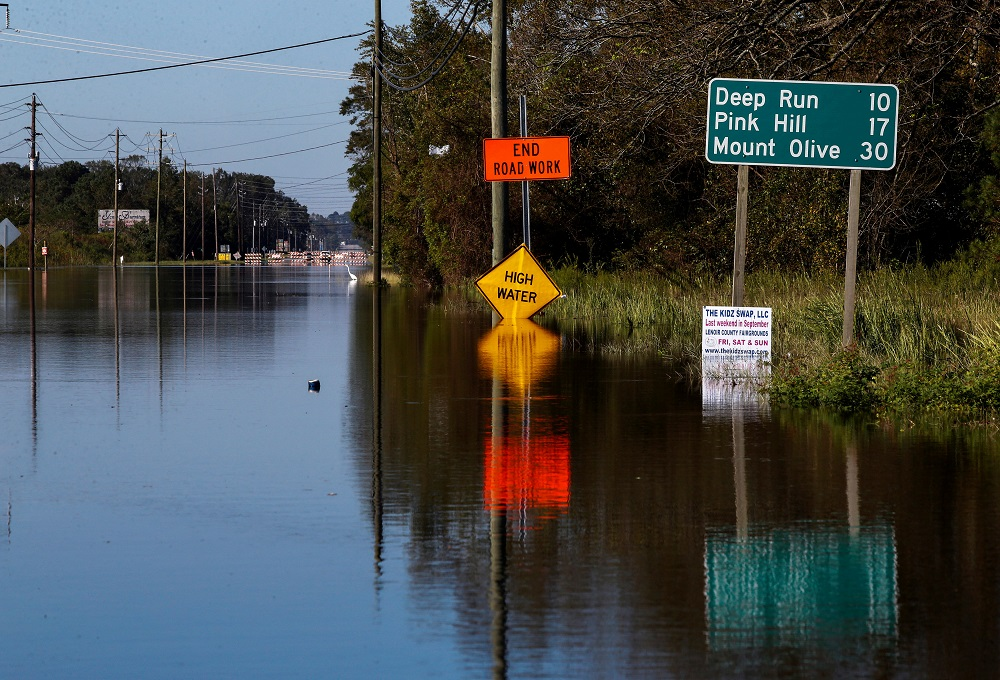 A road is blocked by flood waters in the aftermath of Hurricane Florence, now downgraded to a tropical depression, in Kinston, North Carolina, September 19, 2018. — Reuters pic