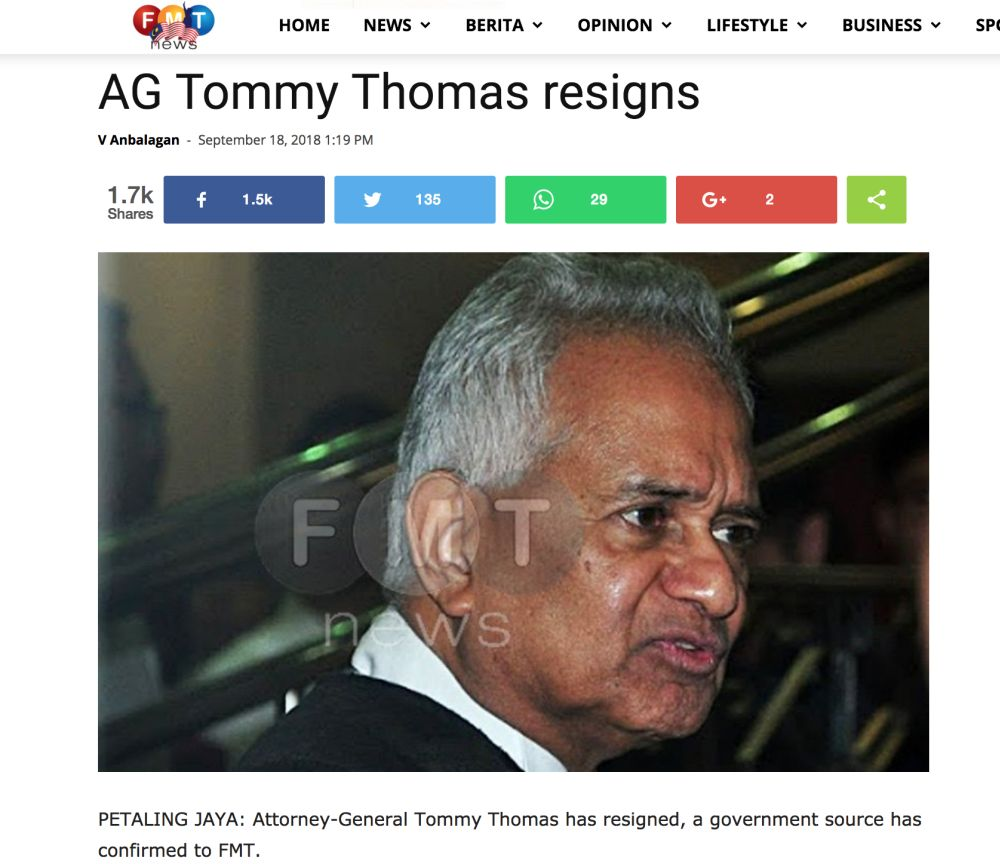 A screenshot of Free Malaysia Today's news report on Thomas' purported resignation before it was taken down from the website September 18, 2018.