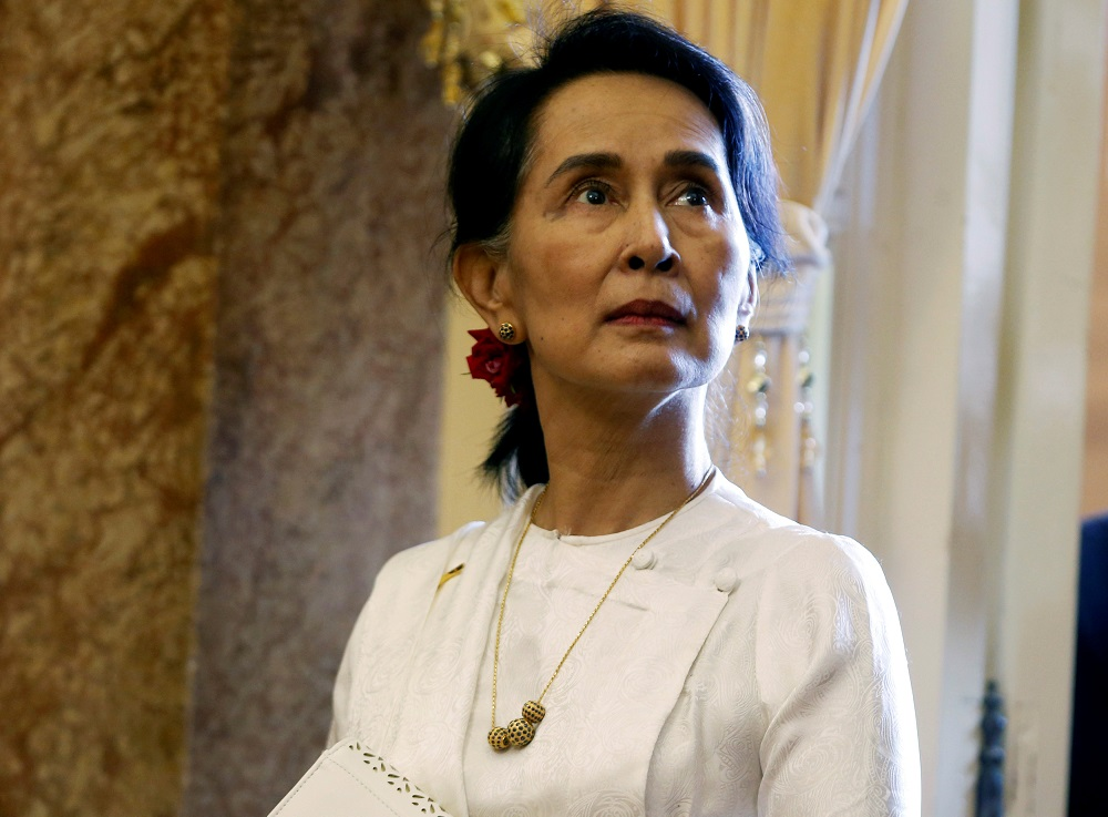 Myanmar's State Counsellor Aung San Suu Kyi seen to wait for a meeting in Hanoi, Vietnam September 13, 2018. — Reuters pic