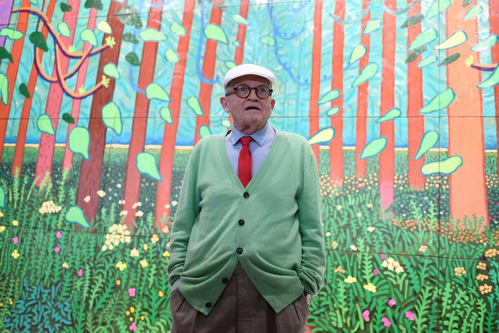 British artist David Hockney poses at the Pompidou Centre in Paris. — AFP pic