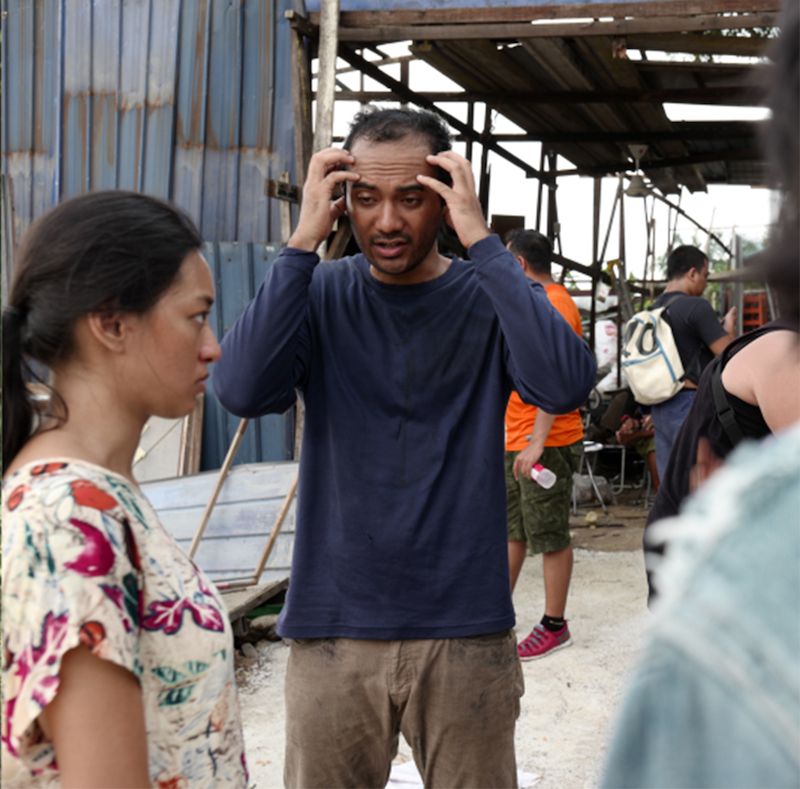 Ario (right) speaks to Asmara on the set of 'One Two Jaga'. — Picture courtesy of Jazzy Group