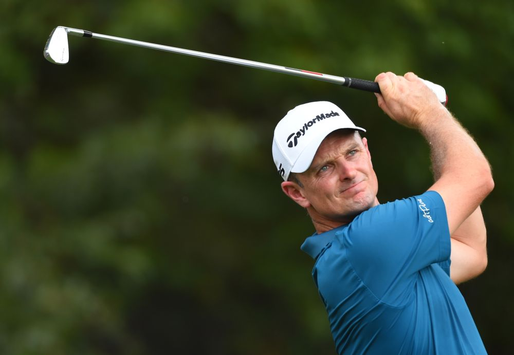 Justin Rose plays his shot from the third tee during the third round of the Tour Championship golf tournament at East Lake Golf Club in Atlanta September 22, 2018. ― Picture by John David Mercer-USA TODAY Sports via Reuters