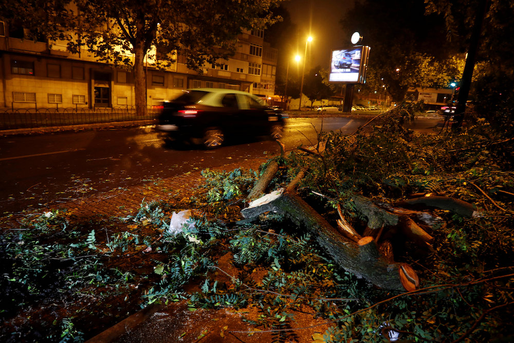 Branches of trees are seen on a street at Benfica neighbourhood as Hurricane Leslie goes past in Lisbon October 14, 2018. — Reuters pic