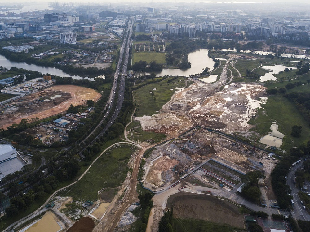 An aerial view of the Kuala Lumpur-Singapore high speed rail terminus construction site at Jurong East. — TODAY pic