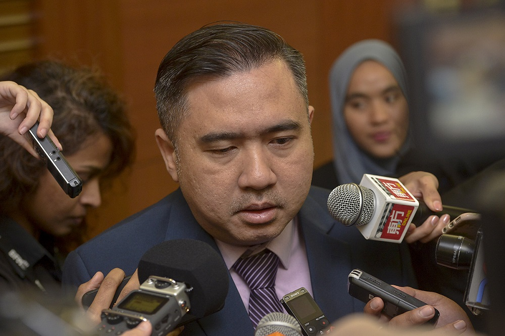 Transport Minister Anthony Loke speaks to the media at the Parliament in Kuala Lumpur October 17, 2018. — Picture by Mukhriz Hazim
