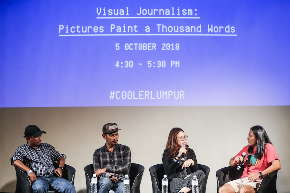 (From left) Ahmad Yusni, Carlo Gabuco and Nana Safiana attend a panel discussion, together with moderator Zan Azlee (right), at the Cooler Lumpur Festival in Kuala Lumpur October 5, 2018. — Picture by Hari Anggara