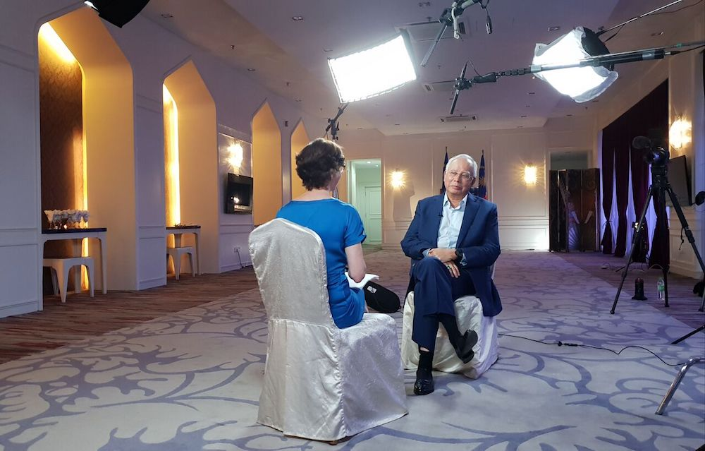 Former prime minister Datuk Seri Najib Razak speaks to Mary Ann Jolley on Al Jazeera's 101 East show. — Picture courtesy of Al Jazeera