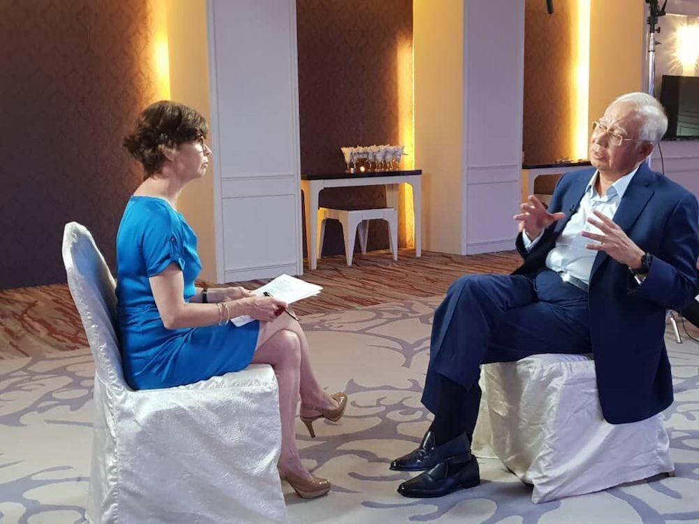 Former prime minister Datuk Seri Najib Razak speaks to Mary Ann Jolley on Al Jazeera's 101 East show. — Picture courtesy of Al Jazeera