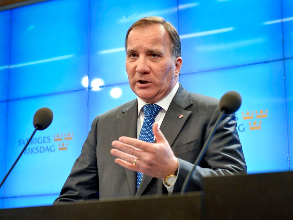 Swedish prime minister Stefan Lofven speaks during a news conference at the Swedish parliament in Stockholm October 29, 2018. — TT News Agency/Jonas Ekstromer pic via Reuters