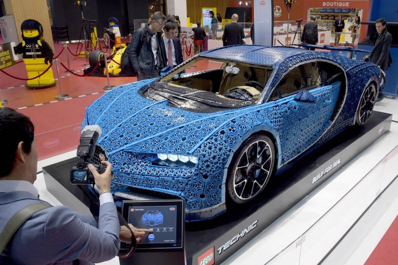 A Bugatti Chiron model made of Lego is presented during the press days of the Paris Motor Show.