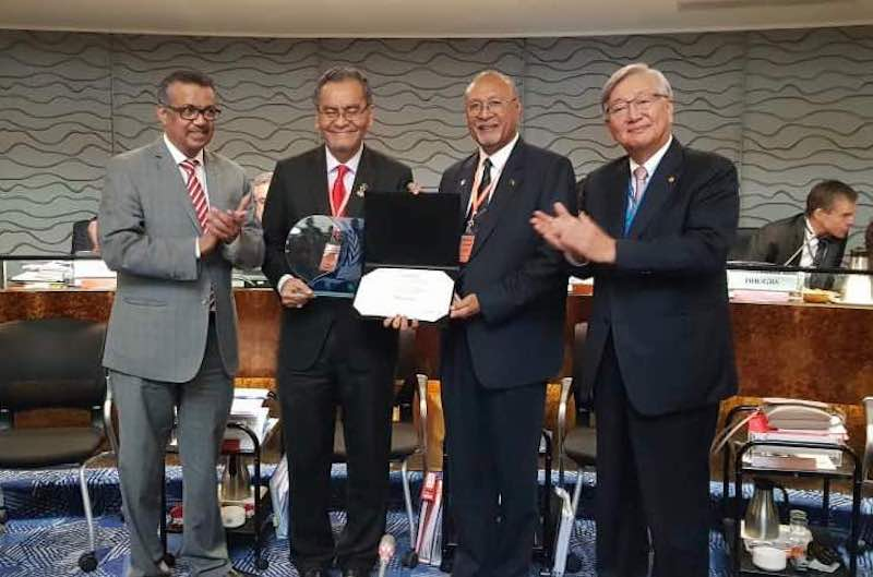 (From left) Director-General of WHO, Dr Tedros Adhanom; Minister of Health Malaysia Dzulkefly Ahmad; Papua New Guinea Minister for Health and HIV/AIDS, Honourable Sir Dr Puka Temu; and WHO Regional Director for the Western Pacific, Dr Shin Young-soo. — Picture courtesy of Ministry of Health