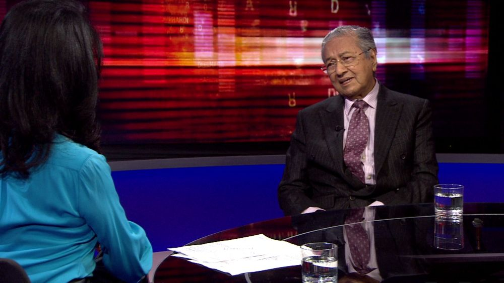 Prime Minister Tun Dr Mahathir Mohamad speaks during an interview with BBC host Zeinab Badawi. — Bloomberg pic