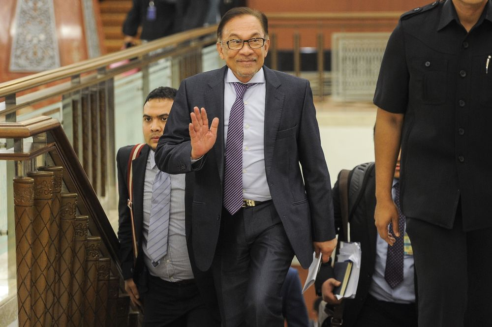 Datuk Seri Anwar Ibrahim is pictured at Parliament in Kuala Lumpur October 29, 2018. — Picture by Shafwan Zaidon