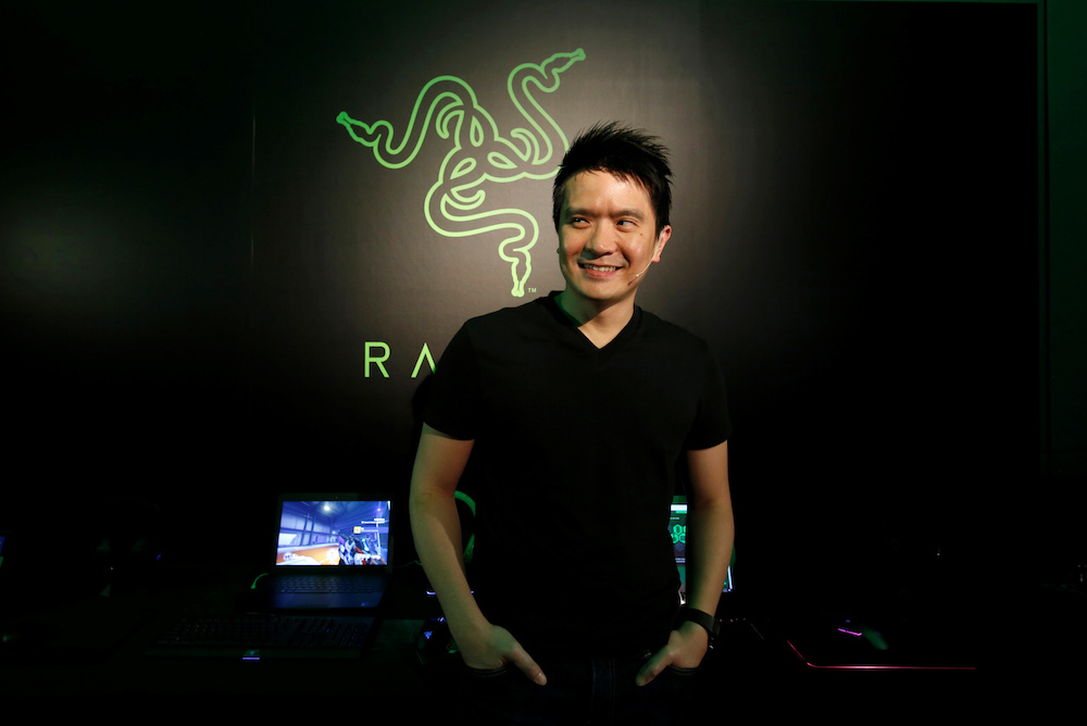 Tan Min-Liang, co-founder and CEO of Razer, poses during a news conference ahead of the company's IPO in Hong Kong October 31, 2017. — Reuters pic